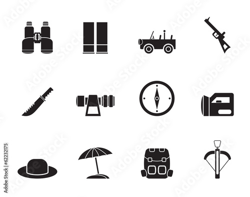 Silhouette safari, hunting and holiday icons