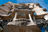 Casa Mila La Pedrera corner balconies down sight at Barcelona