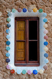 Details of window at big ginger house in Park Guell at Barcelona