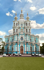 Front view of the Smolny cathedral, St Petersburg, Russia.