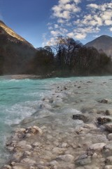 Rapids in the valley of the river Soca