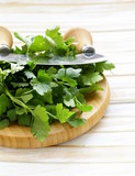 Fresh fragrant green parsley on a cutting board