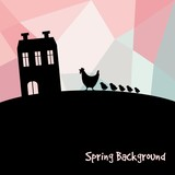 Easter card with silhouettes of chickens and farm house, vector