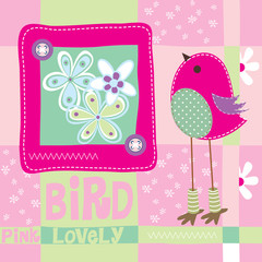 cute pink bird invitation card background vector illustration