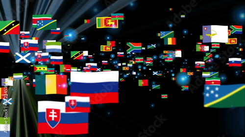 Flags of the World flying, shine, black