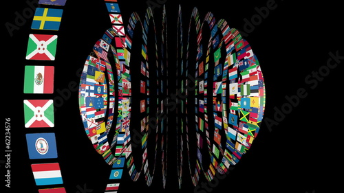 Flags of the World sphere, black