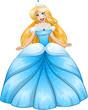 Blond Princess In Blue Dress