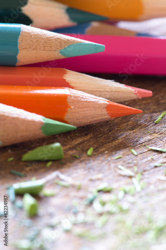 Abstract background of colorful pencils