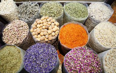 Spices in bazaar of Dubai, United Arab Emirates