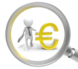 3d man with Magnifier and euro symbol