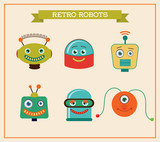 Set of retro vintage robots heads. Vector Illustration