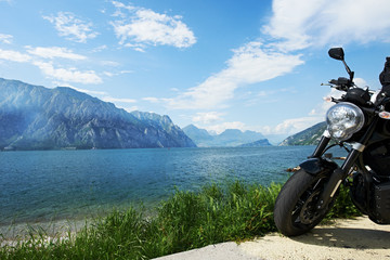 Garda lake in Italy. Bike on shore