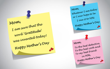 different colorful happy mothers day quotes post it note set