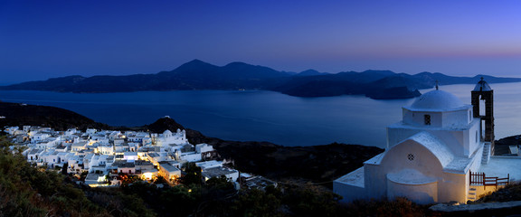 Panoramic view of Plaka in Milos Island.