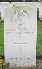 Headstone British soldier of Royal Scots Fusiliers