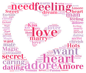 Heart shape love word cloud