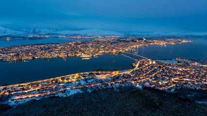Tromso in Norway at night.