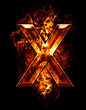 x, illustration of  letter with chrome effects and red fire on b