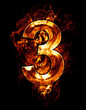 three, illustration of  number with chrome effects and red fire