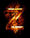 z, illustration of  letter with chrome effects and red fire on b