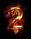 two, illustration of  number with chrome effects and red fire on