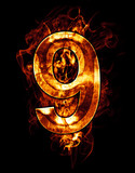 nine, illustration of  number with chrome effects and red fire o