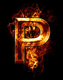 p, illustration of  letter with chrome effects and red fire on b