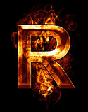 r, illustration of  letter with chrome effects and red fire on b