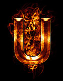 u, illustration of  letter with chrome effects and red fire on b