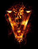 v, illustration of  letter with chrome effects and red fire on b