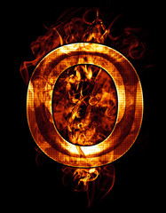 o, illustration of  letter with chrome effects and red fire on b