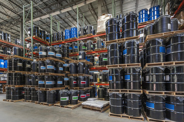 Barrel storage in an industrial  warehouse