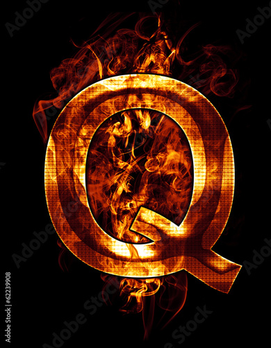 q, illustration of  letter with chrome effects and red fire on b