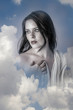 Sensual, Beautiful woman in clouds, mithology concept. Brunette