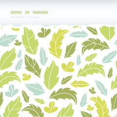 Vector leaves silhouettes horizontal torn seamless pattern