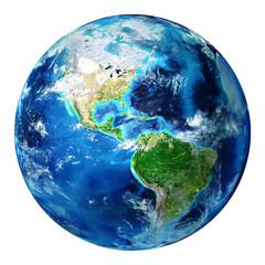 blue earth globe isolated - usa