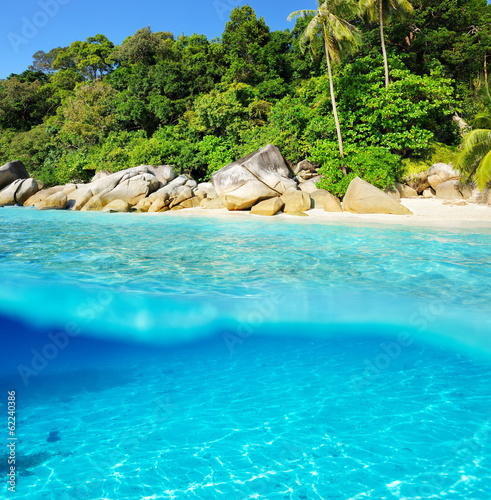 Beautiful beach with white sand bottom