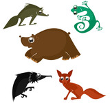 Cartoon funny animals set for design 6
