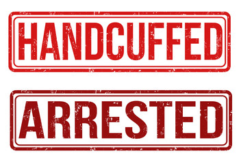 Handcuffed and arrested stamps