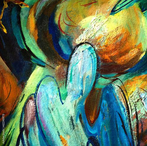 Obraz na Plexi angel over a church dome, illustration, painting