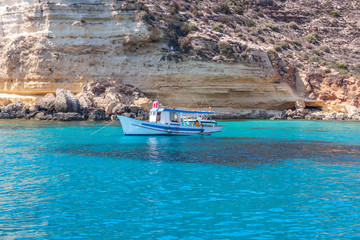 boat on sea of Lampedusa
