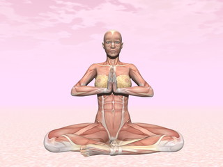 Meditation yoga pose for woman with muscle visible