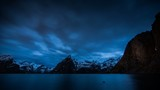 Norway coast at night, amongst fjords timelapse