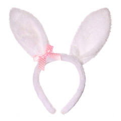 Easter bunny ears with pink bow isolated on white background