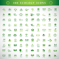 Eco Icons Set - Isolated On Gray Background