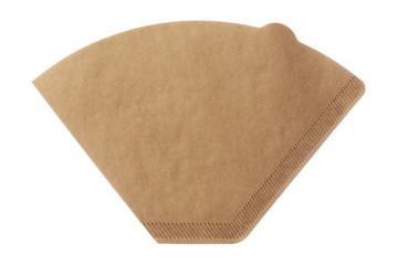 Unbleached brown coffee filter isolated on white background
