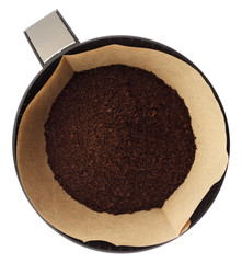 Ground coffee in filter holder isolated on white background over