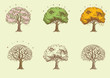 Vector set of seasonal  trees at engraving style.