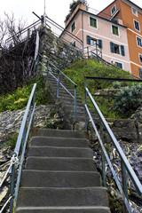 Staircase above the ligurian sea color image
