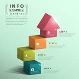 abstract cube stair with house infographics